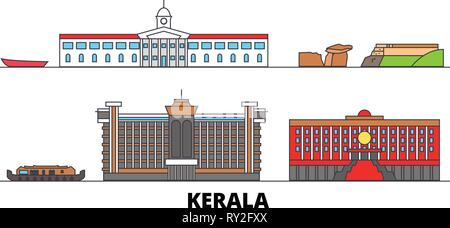 India, Kerala flat landmarks vector illustration. India, Kerala line city with famous travel sights, skyline, design.  - Stock Photo