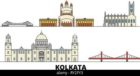 India, Kolkata flat landmarks vector illustration. India, Kolkata line city with famous travel sights, skyline, design.  - Stock Photo
