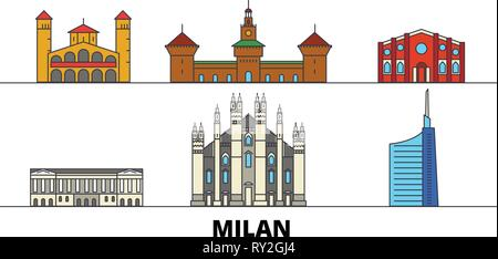 Italy, Milan flat landmarks vector illustration. Italy, Milan line city with famous travel sights, skyline, design.  - Stock Photo