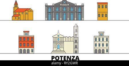 Italy, Potenza flat landmarks vector illustration. Italy, Potenza line city with famous travel sights, skyline, design.  - Stock Photo