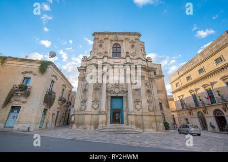 Lecce, Puglia, Italy - Facade of catholic Church of Saint Clare (Chiesa di Santa Chiara) in Piazzetta Vittorio Emanuele II square. A region of Apulia - Stock Photo
