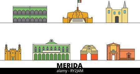 Mexico, Merida flat landmarks vector illustration. Mexico, Merida line city with famous travel sights, skyline, design.  - Stock Photo