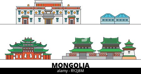 Mongolia flat landmarks vector illustration. Mongolia line city with famous travel sights, skyline, design.  - Stock Photo