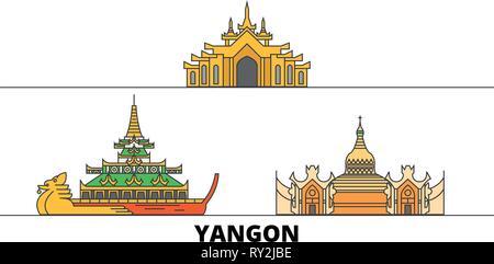 Myanmar, Yangon flat landmarks vector illustration. Myanmar, Yangon line city with famous travel sights, skyline, design.  - Stock Photo