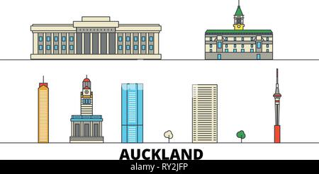 New Zealand, Auckland flat landmarks vector illustration. New Zealand, Auckland line city with famous travel sights, skyline, design.  - Stock Photo
