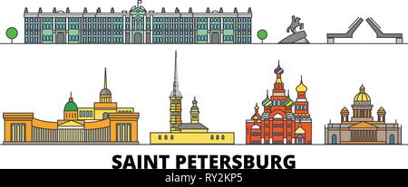Russia, Saint Petersburg flat landmarks vector illustration. Russia, Saint Petersburg line city with famous travel sights, skyline, design.  - Stock Photo