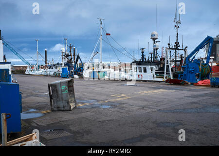PETERHEAD, ABERDEENSHIRE, SCOTLAND, UK. 7th July 2017. Small fishing boats moored alongside in the harbour. Empty rubbish bin in the foreground - Stock Photo