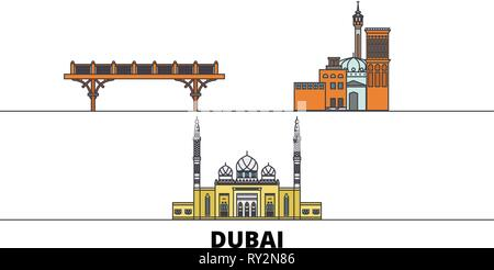 United Arab Emirates, Dubai flat landmarks vector illustration. United Arab Emirates, Dubai line city with famous travel sights, skyline, design.  - Stock Photo