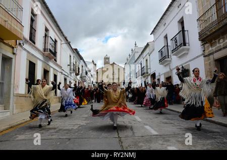 Malpartida de Caceres, Spain - February 15, 2015: Feast of the Patatera with traditional dresses and regional dances - Stock Photo
