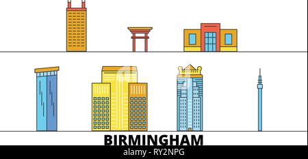 United States, Birmingham flat landmarks vector illustration. United States, Birmingham line city with famous travel sights, skyline, design.  - Stock Photo