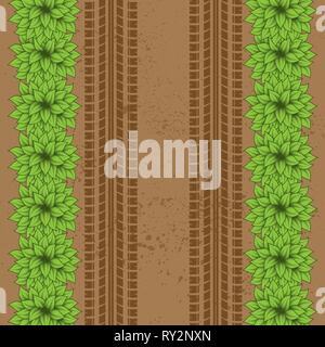 Brown ground grunge background with tire tracks and green bushes - Stock Photo
