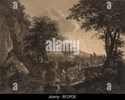 Philip Baptising the Eunuch, 1772. John Browne (British, 1741-1801). Engraving - Stock Photo