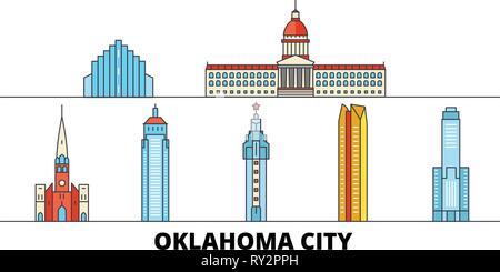 United States, Oklahoma City flat landmarks vector illustration. United States, Oklahoma City line city with famous travel sights, skyline, design.  - Stock Photo