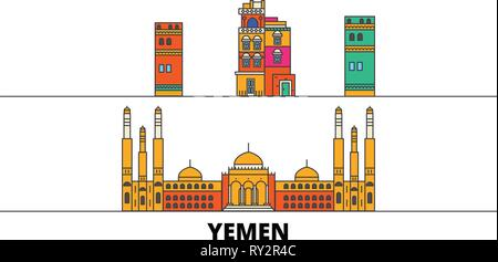 Yemen, Sanaa flat landmarks vector illustration. Yemen, Sanaa line city with famous travel sights, skyline, design.  - Stock Photo