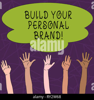Conceptual hand writing showing Build Your Personal Brand. Concept meaning creating successful company - Stock Photo