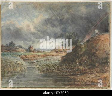 Hampstead Heath, 1800s. Imitator of John Constable (British, 1776-1837). Watercolor; sheet: 36.9 x 43.2 cm (14 1/2 x 17 in - Stock Photo