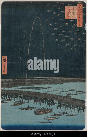 Fireworks at Ryōgoku, from the series One Hundred Views of Famous Places in Edo, 1858. Utagawa Hiroshige (Japanese, 1797-1858). Color woodblock print; sheet: 33.7 x 22 cm (13 1/4 x 8 11/16 in - Stock Photo