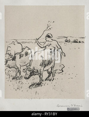 Cowherder, c. 1899. Camille Pissarro (French, 1830-1903). Lithograph - Stock Photo