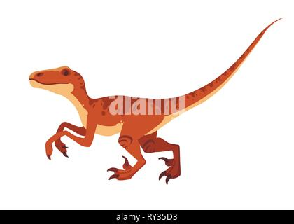 Brown raptor. Cute dinosaur, cartoon design. Flat vector illustration isolated on white background. Animal of jurassic world. Small carnivore dinosaur - Stock Photo