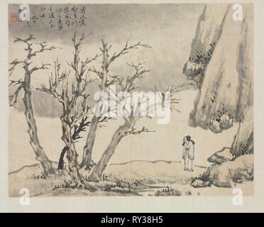 Landscape Album in Various Styles: Snowy Landscape, 1684. Zha Shibiao (Chinese, 1615-1698). Album leaf, ink and light color on paper; overall: 29.9 x 39.4 cm (11 3/4 x 15 1/2 in - Stock Photo
