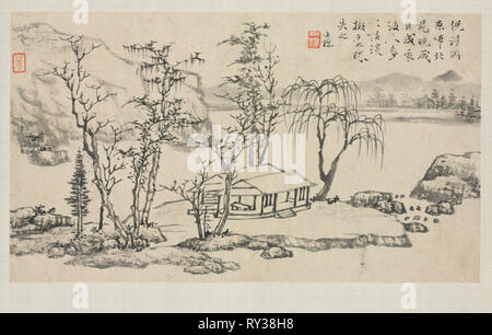 Landscape Album in Various Styles: Landscape after Ni Zan, 1684. Zha Shibiao (Chinese, 1615-1698). Album leaf, ink and light color on paper; overall: 29.9 x 39.4 cm (11 3/4 x 15 1/2 in - Stock Photo