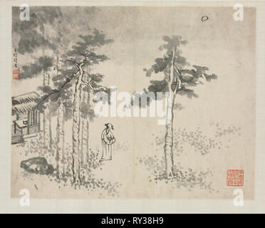 Landscape Album in Various Styles: Shibiao Waiting for the Moon, 1684. Zha Shibiao (Chinese, 1615-1698). Album leaf, ink and light color on paper; overall: 29.9 x 39.4 cm (11 3/4 x 15 1/2 in - Stock Photo