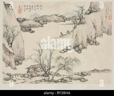 Landscape Album in Various Styles: Boating in Spring Water, 1684. Zha Shibiao (Chinese, 1615-1698). Album leaf, ink and light color on paper; overall: 29.9 x 39.4 cm (11 3/4 x 15 1/2 in - Stock Photo