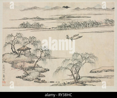 Landscape Album in Various Styles: The Stream of Wuling, 1684. Zha Shibiao (Chinese, 1615-1698). Album leaf, ink and light color on paper; overall: 29.9 x 39.4 cm (11 3/4 x 15 1/2 in - Stock Photo