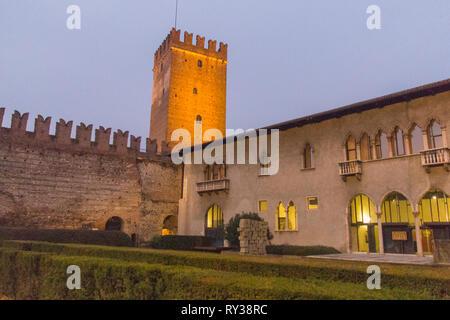 Italy, Verona - December 08 2017: the view of inner yard of Castelvecchio at night on December 08 2017, Veneto, Italy. - Stock Photo