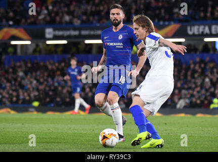 LONDON, ENGLAND - MARCH 7, 2019: Olivier Giroud of Chelsea pictured during the first leg of the 2018/19 UEFA Europa League Last 16 Round game between Chelsea FC (England) and Dynamo Kyiv (Ukraine) at Stamford Bridge. - Stock Photo