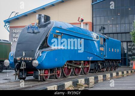 LNER 'A4' 4-6-2 No. 4468 'Mallard' , NRM, York - Stock Photo