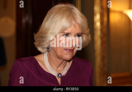 The Duchess of Cornwall at the annual Commonwealth Day reception at Marlborough House, the home of the Commonwealth Secretariat in London. - Stock Photo