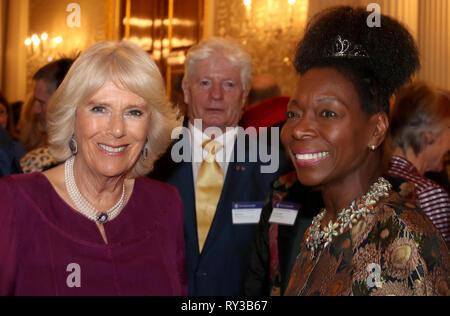 The Duchess of Cornwall and Floella Benjamin at the annual Commonwealth Day reception at Marlborough House, the home of the Commonwealth Secretariat in London. - Stock Photo