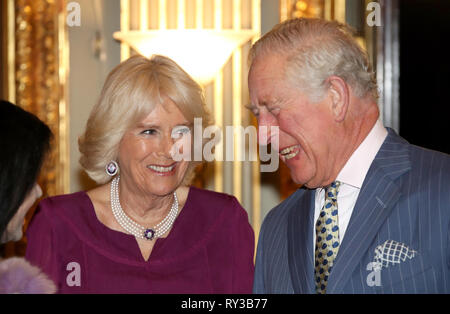 The Prince of Wales and the Duchess of Cornwall at the annual Commonwealth Day reception at Marlborough House, the home of the Commonwealth Secretariat in London. - Stock Photo