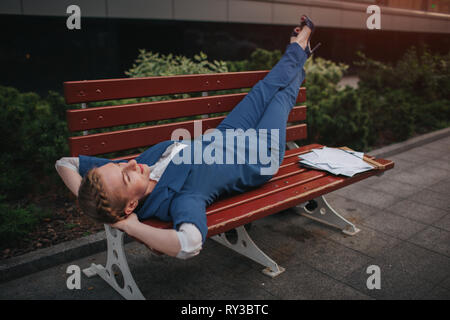 Business Woman is resting after a successful transaction. Break at work. I quit and dreams about rest - Stock Photo