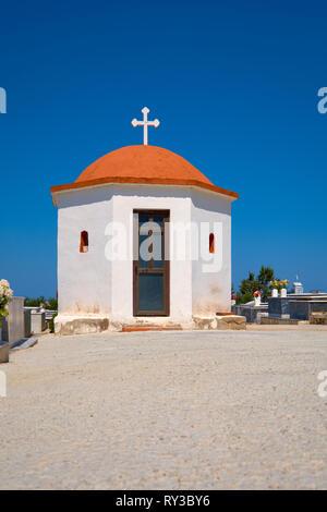 Small chapel on the cemetery near Arkadi Monastery in Crete, copy-space - Stock Photo