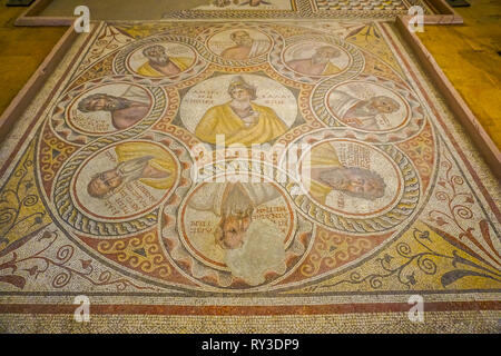 Beirut National Archeological Artifacts Museum Mosaic with Greek Letters - Stock Photo