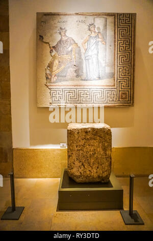 Beirut National Archeological Artifacts Museum Mosaic in Greek Letters - Stock Photo