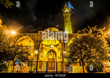 Beirut Al Omari Mosque Back View with Minarets at Night - Stock Photo