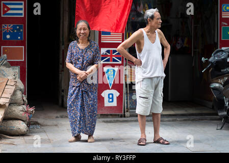Happy Senior couple in a street of Hanoi. Asian old age, relationship and elderly concept. Hanoi - Stock Photo