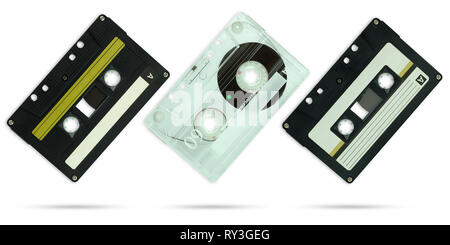 Set of Compact cassette on isolate white background with clipping path. - Stock Photo