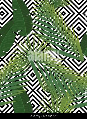 Beautiful tropical abstract color and green palm leaves vector pattern on a background of geometric diagonal black and white lines - Stock Photo