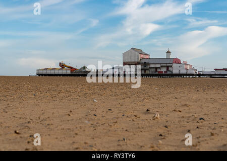 Great Yarmouth, Norfolk, England, UK - April 04, 2018: Great Yarmouth beach and the Britannia Pier & Theatre - Stock Photo
