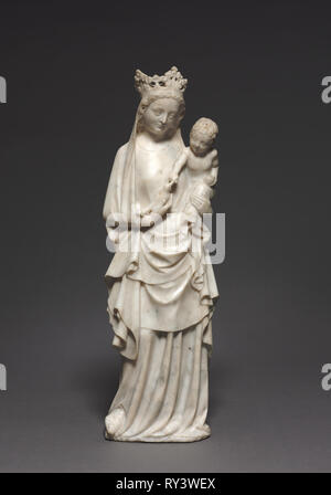 Virgin and Child with a Bird, c. 1350. France, Île-de-France, Paris, 14th century. Marble; without base: 54.6 x 17.8 cm (21 1/2 x 7 in - Stock Photo