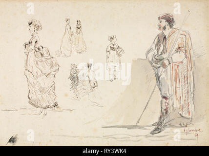 Sketches of Figures, 1869. Alphonse Marie Adolphe de Neuville (French, 1835-1885). Graphite, pen and brown ink, and watercolor; sheet: 27 x 38.7 cm (10 5/8 x 15 1/4 in - Stock Photo