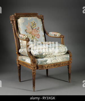 Armchair (Fauteuil), c. 1785. Nicolas-Denis Delaisement (French). Boxwood ; overall: 98.2 x 69.9 x 68.3 cm (38 11/16 x 27 1/2 x 26 7/8 in - Stock Photo
