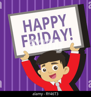 Handwriting text writing Happy Friday. Conceptual photo Wishing you have a good start for the weekend - Stock Photo