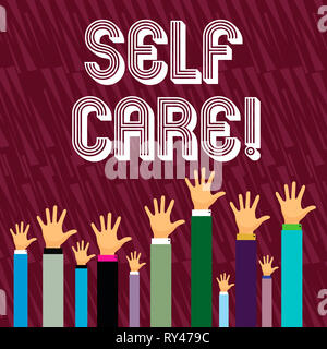 Writing note showing Self Care. Business concept for Protection you give to yourself Individual control checking - Stock Photo