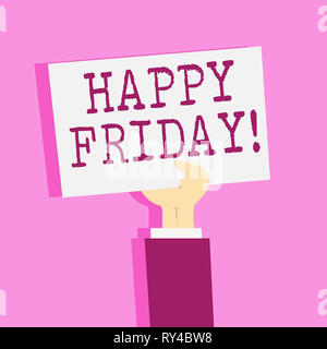 Writing note showing Happy Friday. Business concept for Wishing you have a good start for the weekend - Stock Photo