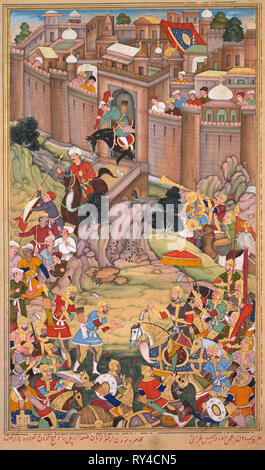The siege of Arbela in the era of Hulagu Khan, from a Chingiz-nama (Book of Chingiz Khan) of the Jami al-tavarikh (Compendium of Chronicles) of Rashid al-Din (Persian,1247–1318), c. 1596. Basavana (Indian, active c. 1560–1600), Sur Das Gujarati (Indian, active 16th century). Opaque watercolor, ink and gold on paper; image: 34 x 20 cm (13 3/8 x 7 7/8 in.); overall: 38.5 x 25 cm (15 3/16 x 9 13/16 in.); with mat: 49 x 36.3 cm (19 5/16 x 14 5/16 in - Stock Photo